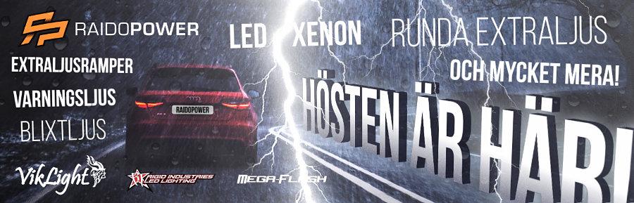 Hos Raidopower hittar du allt inom extraljus till din bil - Rigid Industries, Mega-Flash, VikLight och mycket mera!